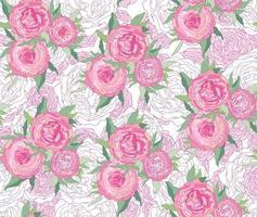 nahtloses Ziermuster mit Blumenmuster. sanfte weiße Blume Pfingstrose gedeihen Textur. abstrakter blühender Gartenblütenhintergrund vektor