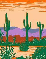 Saguaro-Kaktus im Nationaldenkmal der Sonora-Wüste südlich der Rosskastanie und östlich der Gila-Bend-Arizona-WPA-Plakatkunst vektor