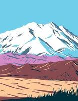 Denali-Nationalpark und Naturschutzgebiet, das früher als Mount McKinley-Nationalpark bekannt war und sich im Inneren der Alaska-WPA-Plakatkunst befindet vektor
