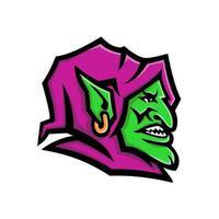 Goblin Kopf Seite Maskottchen vektor