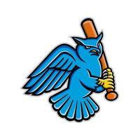 horned owl baseball player batting maskot vektor