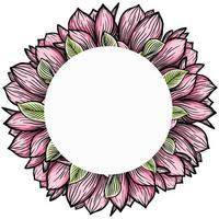 Kranz, runder Rahmen aus Magnolienblüten, blühende Blumensilhouette. Frühling, Blumenmuster für Karten, Einladungen, Verpackung vektor