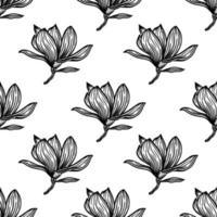 mönster sömlöst med svart magnolia kontur. vårblommor handritad vektorillustration. svartvitt med konturteckningar på vita bakgrunder vektor