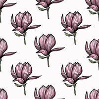 mönster sömlöst med svart magnolia kontur. vårblomma handritad vektorillustration. svartvitt med konturteckningar på vita bakgrunder vektor