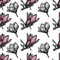 Muster nahtlos mit schwarzem Magnolienumriss. Frühlingsblumenhand gezeichnete Vektorillustration. Schwarzweiss mit Strichgrafiken auf weißem Hintergrund vektor