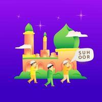 Illustration der Aktivitäten von Kindern während des Ramadan, um Menschen für suhoor aufzuwecken vektor