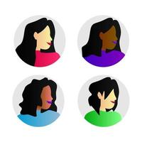Kreis Avatar Frauen Sammlung Design Vektor isoliert auf weißem Hintergrund
