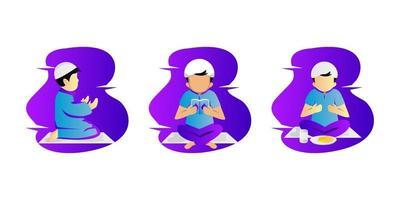 Illustration Ramadan Aktivität Kinder Sammlung Design-Set vektor