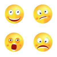 Smiley Vektor Set glücklich verrückt gähnen Gesicht