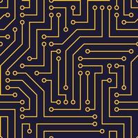 sömlösa mönster med chip. gula ledningar, mörkblå bakgrund. vektorbild. lämplig för tekniska platser och utskrift. vektor