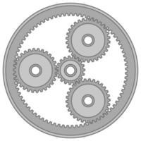 graues planetarisches Zahnradsymbol oder Illustration vektor