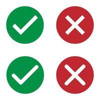 Satz von Check- und Cross-Vektor-Buttons für das Web. vektor
