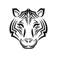 Strichgrafikvektor des Tigerkopfes. geeignet als Dekoration oder Logo. vektor