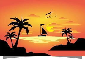 orange bakgrund med båt och solnedgång vektor