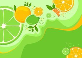 Banner Vorlage mit Orangen und Limetten. vektor