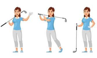 Golferin in verschiedenen Posen. vektor