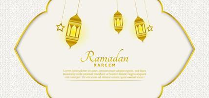 schöne islamische Ramadan-Hintergrundschablone mit weißer und goldener Farbe vektor