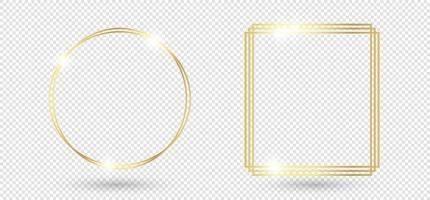 Gold glänzender leuchtender Rahmen mit Schatten lokalisiert auf transparentem Hintergrund. realistische rechteckige Grenze des goldenen Luxusweinlese. Illustration - Vektor