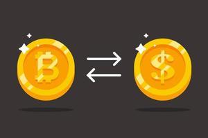 Bitcoin gegen Dollar eintauschen. kostbare Goldmünzen. flache Vektorillustration. vektor