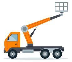 Kranaufzug auf einem LKW für Arbeiten in der Höhe. Spezialkonstruktion Hochhausausrüstung. flache Vektorillustration lokalisiert auf weißem Hintergrund. vektor