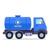 blauer LKW mit einem Tank für den Transport von Wasser. flache Vektorillustration lokalisiert auf weißem Hintergrund. vektor