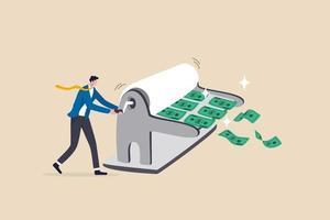 Geld drucken, Politik der quantitativen Lockerung durch die Zentralbank oder die Fed, Federal Reserve zur Stimulierung des Wirtschaftskonzepts. vektor