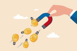 Fantasie, um neue Ideen, Kreativität oder Innovation für neues Geschäftskonzept zu schaffen, Geschäftsmann Hand hält Magnet, um Glühbirnenlampe Ideen zu magnetisieren oder zu zeichnen. vektor