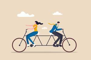 Geschäftskonflikte, Kontroversen oder Meinungsverschiedenheiten, die zu Problemen und Misserfolgen führen, Geschäftsmann- und Geschäftsfrau-Kollegen, die sich bemühen, Fahrrad in die entgegengesetzte Richtung zu fahren. vektor