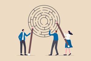 Business Brainstorming, um eine Lösung oder Entscheidungsfindung zur Lösung des Problems und zur Erreichung des Zielkonzepts zu erhalten vektor