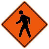 Fußgängerüberweg Verkehrsstraßensymbolzeichen isolieren auf weißem Hintergrund, Vektorillustration vektor