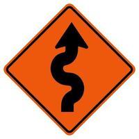 gewundenes Verkehrsstraßensymbolzeichen isolieren auf weißem Hintergrund, Vektorillustration vektor