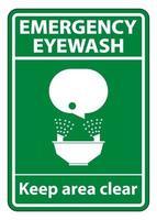 Notfall-Augenspülung halten Bereich klares Symbolzeichen isolieren auf weißem Hintergrund, Vektorillustration eps.10 vektor