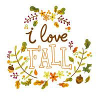 Netter Herbstlaub und Niederlassungen mit Beschriftung vektor