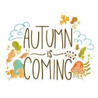 Herbst-Hintergrund mit Blättern, Niederlassungen und Pilzen