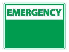 Symbol Notfallzeichenetikett auf weißem Hintergrund vektor