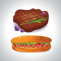 Fast Food Hotdog und Steak vektor
