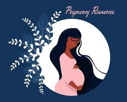 glückliche schwangere afro Frau, die ihren Bauch hält vektor