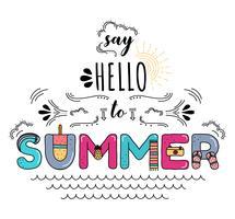 Sagen Sie Hallo zum Sommer-Typografie-Vektor