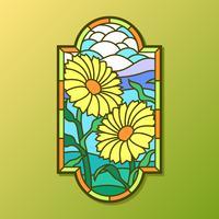 Sun-Blumen-Buntglas-Fenster-Vektor vektor
