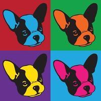 Französisch Bulldogge Symbol Logo Kopf Retro-Set vektor