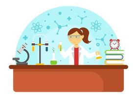 Weiblicher Wissenschaftler, der Experiment-Vektor tut