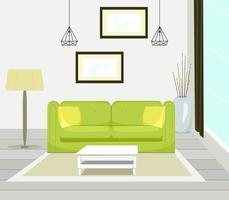 Innenraum des modernen Wohnzimmers mit Sofamöbeln, Tisch, Stehlampe, großem Fenster, Wandmalerei, Vektorillustration im flachen Stil. vektor
