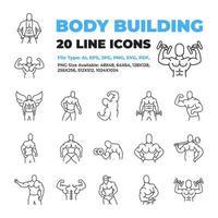 bodybuilder karaktär ikonuppsättning vektor