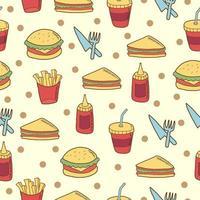 Fast-Food-Doodle nahtlos vektor