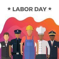Flat Labour Day Med Gradient Bakgrund Vector Illustration