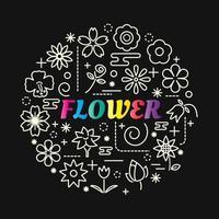 Bunte Farbverlaufsbeschriftung der Blume mit Ikonensatz vektor