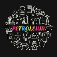 petroleum färgglada tonad bokstäver med ikonuppsättning vektor