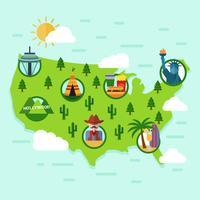 platt United States landmärke karta vektor