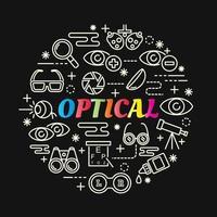 optisk färgglad tonad bokstäver med linjeikoner vektor