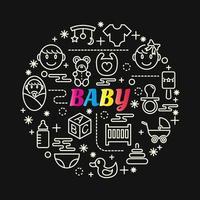 bunte Farbverlaufsbeschriftung des Babys mit Linienikonen vektor
